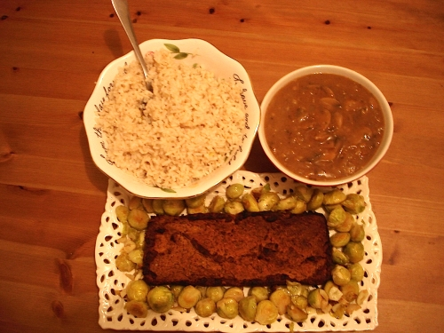 Tofu loaf, oven-roasted brussels sprouts, brown rice & Mighty Miso Gravy